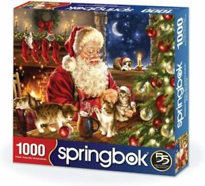 "Springbok 1000 pc Jigsaw Puzzle ""Christmas Kittens"" Made in USA Santa Claus"