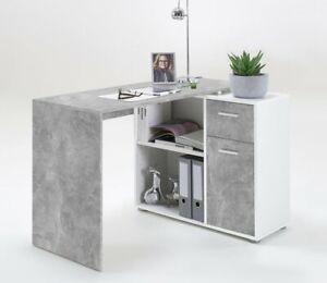Schreibtisch Albrecht Computertisch Ecktisch Winkeltisch Beton Weiss