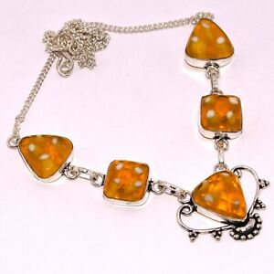 """MURANO GLASS 925 SILVER PLATED NECKLACE 17"""", AB-7997"""