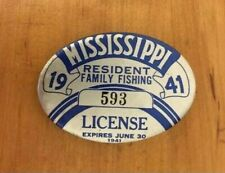 Rare 1941 Mississippi Family Fishing License Pin