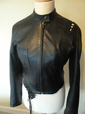 womens D&G leather biker style jacket - size 12 good condition
