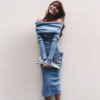 Women Off Shoulder Long Sleeve Bodycon Slim Club Party Midi Dress Sweater Jumper