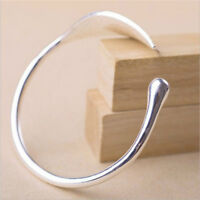 Women's Cuff Bracelet Open Leaf Bangle Wristband Silver Tone Jewelry Gifts LE