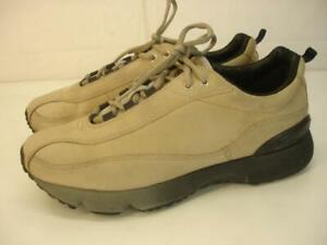 Men's 8 8.5 42 Ecco Receptor Heel Stabilizer Tan Leather Shoes Sneakers Lace-Up