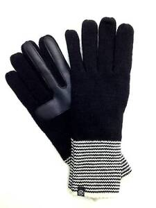 $125 Isotoner Women Black White Knit Smartouch Warm Winter Gloves One Size