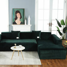 Dark Green Velvet Stretch Sofa Cover 2 Seater. Accessories Not Included