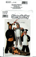 Animal Halloween Costume Pattern Simplicity 8331 Child 6 8 Bunny Panda Leopard