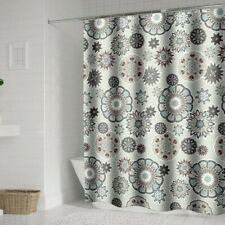Polyester Shower Curtain Floral Print Bathroom Curtains Waterproof Hooks