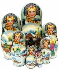 Maslenitsa 7 Piece Handmade Babushka Matryoshka Russian Nesting Stacking Doll