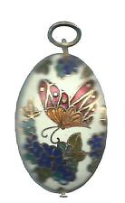 "Cloisonne Jewelry Butterfly necklace pendant 1.25"" X .5"" 2ozs."
