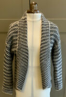 Lineamaglia Chunky Crop Cardigan.12.Grey/Cream.Wool & Angora Mix.Made In Italy.