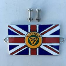 CATERHAM SUPER 7 Union Jack GB Brass Enamel Classic Car Badge - Bolt On