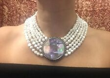 Judith Jack Sterling Silver Mother Of Pearl 6 Strand Faux Pearl Collar Necklace