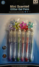 6 Mini Scented Glitter Gel Pens with Flower Charms. Great Gift/Party Bag Filler
