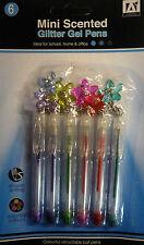 6 MINI PENNE GEL di glitter Profumati con Fiori charms. GRANDE REGALO/PARTY Borsa Filler