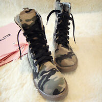 Women's Lace Up Ankle Boots High Top Training Camouflage Round Toe Shoes Booties