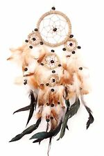 New Brown Tan Dream Catcher Handmade Leather Feather Car  Wall Home Decor