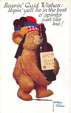 POSTCARD   BEAR  SCOTLAND  Whisky   Good  Wishes       LAWSON  WOOD