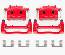 Disc Brake Caliper-Perf Red Powder Coated Calipers w/Brackets Front POWER STOP