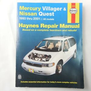 Haynes Repair Manual 1993-2001 Mercury Villager & Nissan Quest  No. 64200