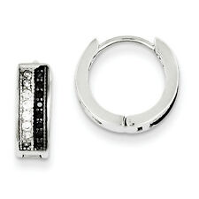 925 Sterling Silver Solid Polished White And Black CZ Hinged Hoop Earrings