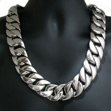 "Men's Heavy 30MM Thick Chain Silver Cuban 316L Stainless Steel Huge 28"" Necklace"