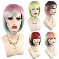 Women Girl Short BOB Multicolor Rainbow Straight Cosplay Party Synthetic Wigs~.