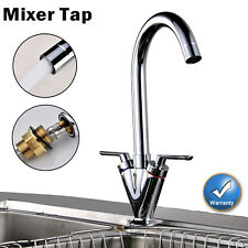 NEW TWIN LEVER SWIVEL CHROME KITCHEN SPOUT MODERN MONO SINK BASIN MIXER TAP -11F