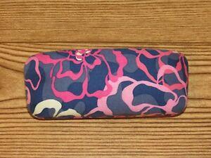 Vera Bradley Navy Blue Floral Pink Flower Clamshell Eyeglasses Hard Glasses Case