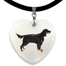 Gordon Setter Natural Mother Of Pearl Heart Pendant Necklace Chain PP263