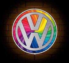VW BADGE SIGN LED LIGHT BOX MAN CAVE GARAGE WORKSHOP GAMES ROOM BOYS GIFT GTI