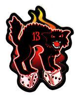 BAD LUCK BLACK CAT LUCKY 13 HOT ROD RAT ROD LOW BROW ART VINYL DECAL STICKER