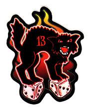 BAD LUCK BLACK CAT LUCKY 13 PSYCHOBILLY VINTAGE TATTOO ART VINYL DECAL STICKER