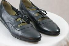"Women's TROTTERS ""Liza"""" Blue Leather Casual Dress Slip on Flats Wedge Heel  8 N"