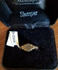 #391 NWT Harley-Davidson women's Stamper gold with diamonds ring, size 6