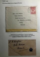 1941 Government House Accra Gold Coast Censored Cover To Herts England