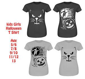 New Kids Cap Sleeve Top Girls Halloween Scary Cat Witch & Pumpkin Print T Shirt
