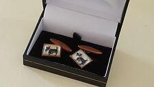 Essex crystal reverse carved intaglio vintage Art Deco antique dog cufflinks