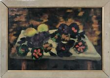 Mid/ Late 20th Century Still Life ( Red & Purple Flowers and on Table), $200