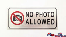 No Photo Allowed Stick On Sign Office Shop Motel Warning Sign Aluminum Alloy OZ