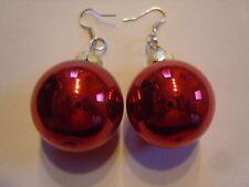 Ohrring Weihnachtsbaumkugel dunkel rot Glänzend Größe ca.2,5 cm Christbaum Glas