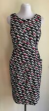 London Times Dress, Sleeveless, Size 6, Front Pockets, Multi-color print