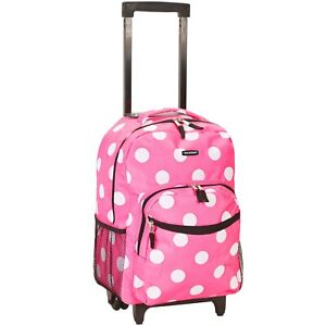 Rockland 17-inch Rolling Carry-On Backpack - Pink Dot