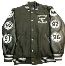NBA GIII Sports Carl Banks Varsity Bomber Jacket Chicago Bulls 1990 Finals Black