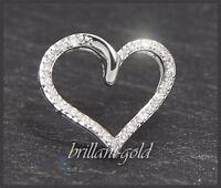 Anhänger Diamant Herz Weißgold mit 24 Diamanten 0,15 ct, Damen Kette Schmuck Neu