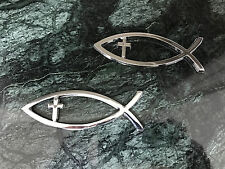 2 Chrome Christian Cross Fish Religious ABS Chrome Emblem Car Sticker Logo