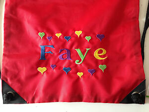 Personalised Embroidered Drawstring Bag PE Swim Boy/Girl Kids Heart Design Gift