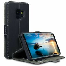 Terrapin Leather Flip Wallet Cover Case for Samsung Galaxy S9 - Black