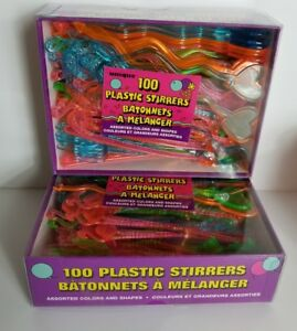 Lot of 2 Tiki Party Plastic Drink Stirrers 100 Count each Pink Orange Yellow