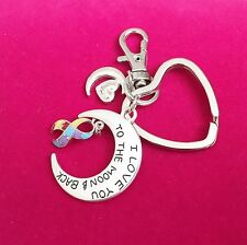 Antique Silver 'I Love You To The Moon ' Keychain Autism Awareness Unisex Gift